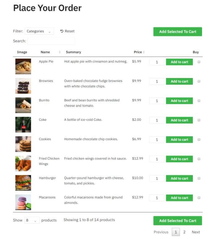 Menú online para configurar restaurante