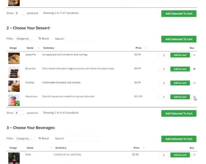 Un formulario de pedido de comida online
