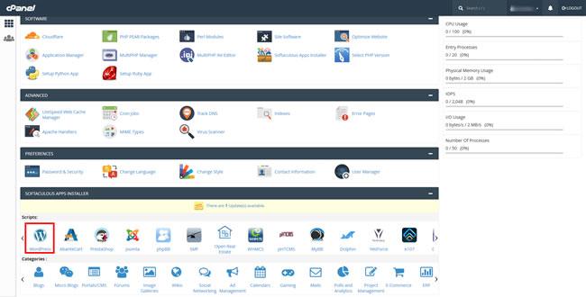 Captura de cpanel hosting para instalar WordPress