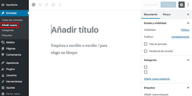 Paso 3: Agregar una nueva página web a WordPress