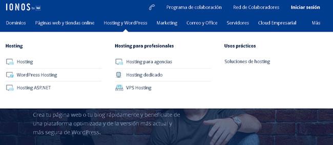 Captura de web de IONOS 1and1