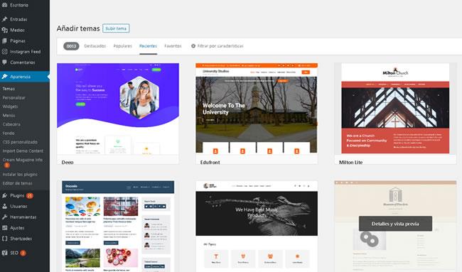 Agregar un nuevo tema a WordPress
