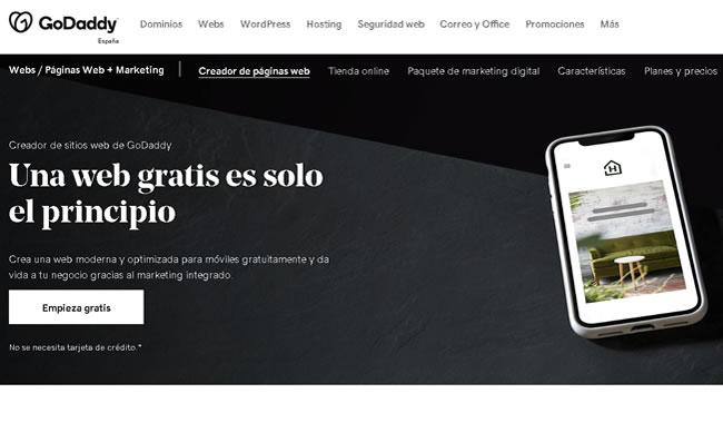 Creador de sitios web de GoDaddy registrador de dominios y hosting