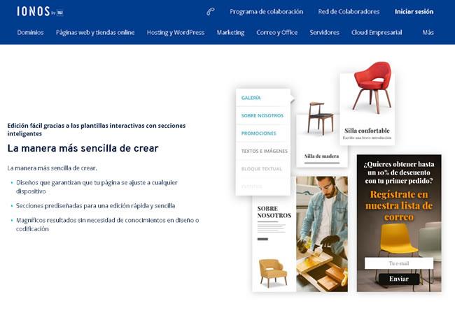 Página web de inicio de IONOS 1and1