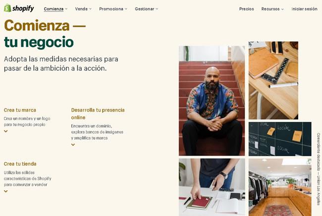 Primera página de Shopify de webs de comercio electrónico