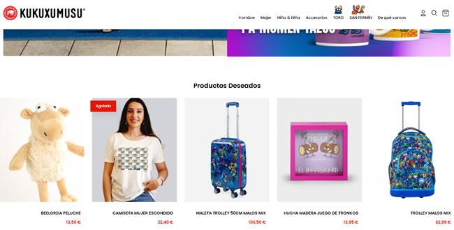 Vista de ejemplo de una tienda on line o ecommerce